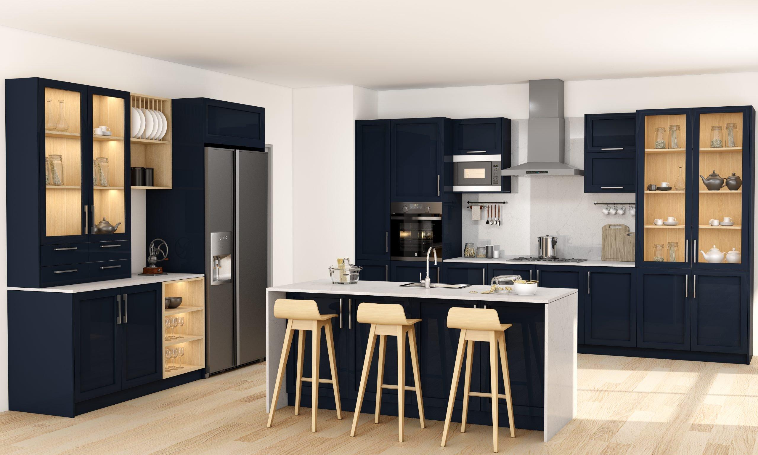 Modern Kitchen in Indigo Blue Kaisersberg Oak and Breakfast Bar