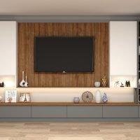 Dust grey Tv units in walnut finish