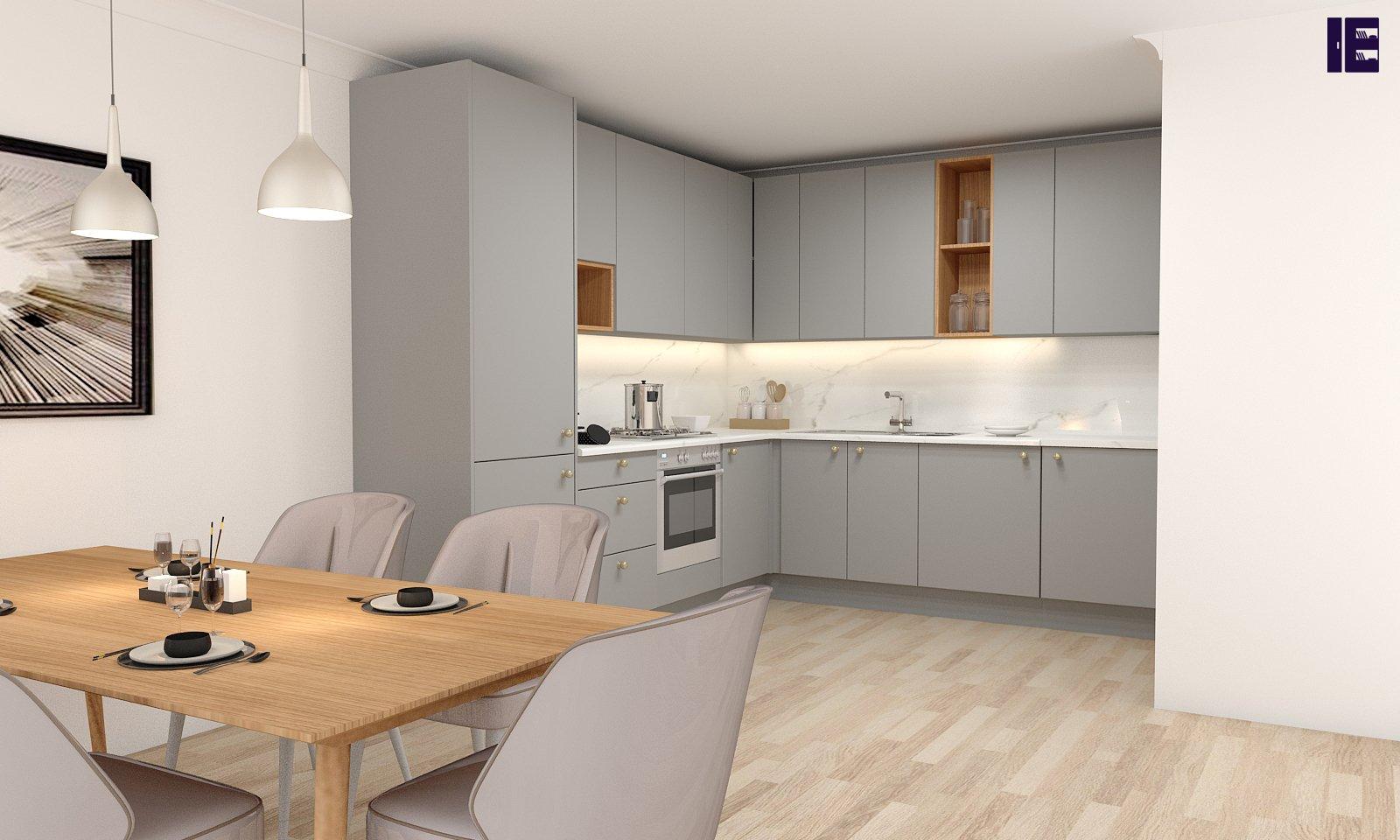 Silver grey kitchen units with verona cherry finish