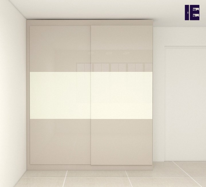Fitted grey top hung wardrobe in premium white & levanto marble finish