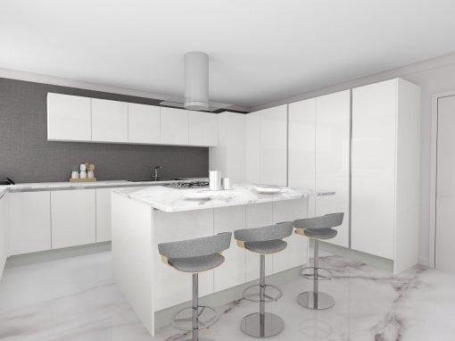 Handleless Kitchen in Alpine White