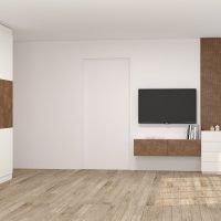 Fitted wardrobe in alpine white & copper stone finish