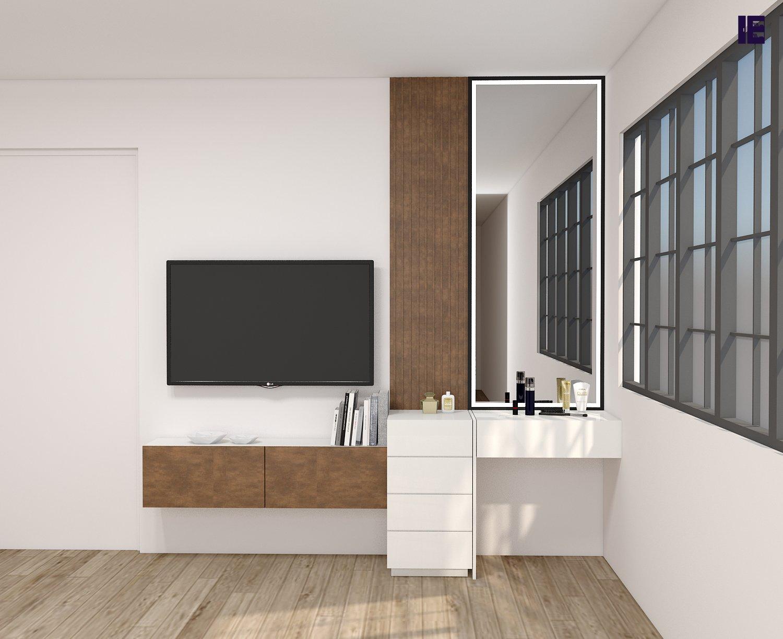 Fitted dresser in alpine white & copper stone finish