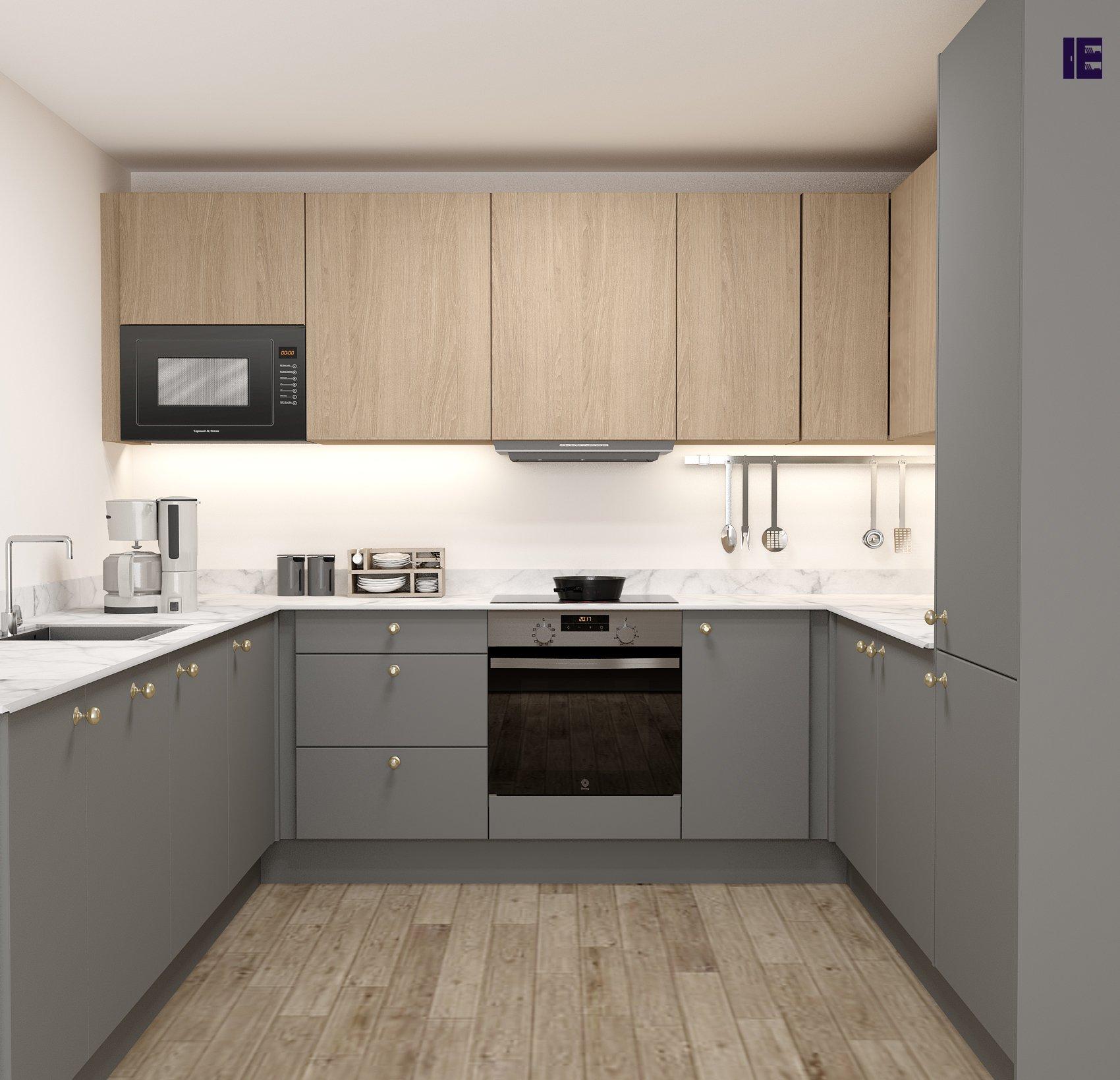 Modern kitchen in grey colour