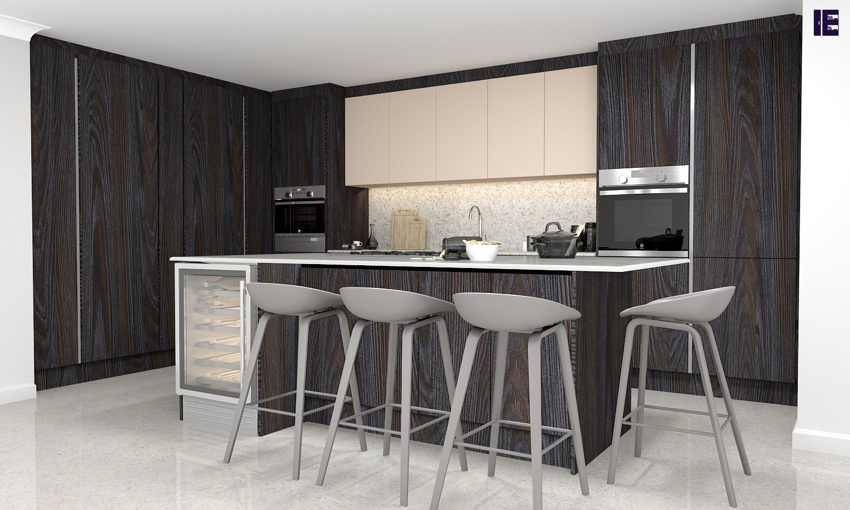 Grey kitchen units in wood finish